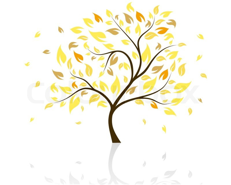 Vector Illustration Baum im Herbst mit fallenden Blättern