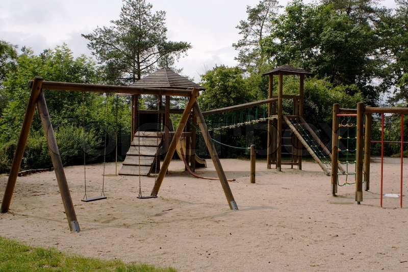 Children S Playground With Wooden Monkey Bars And Swing