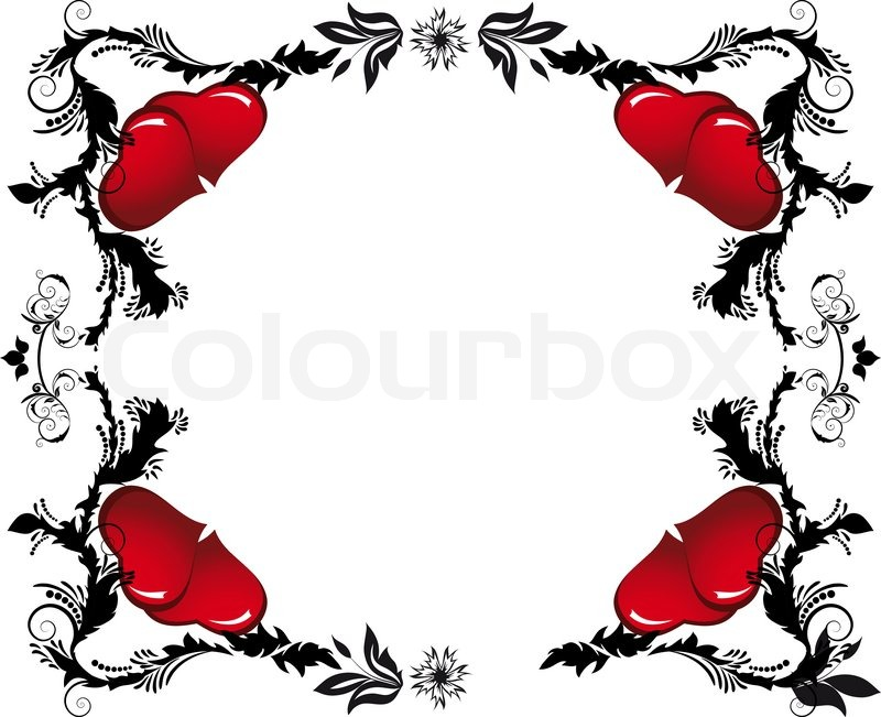 heart floral frame valentine - photo #7