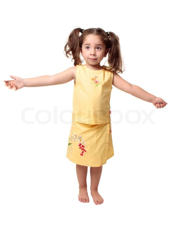 Small young girl standing with arms outstretched to the sides of her body stock photo colourbox - Pics of small little girls ...