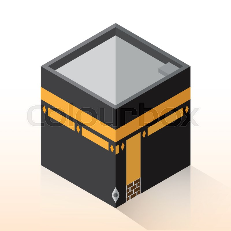 Flat 3d Isometric Kaaba, Mecca, Hajj     | Stock vector
