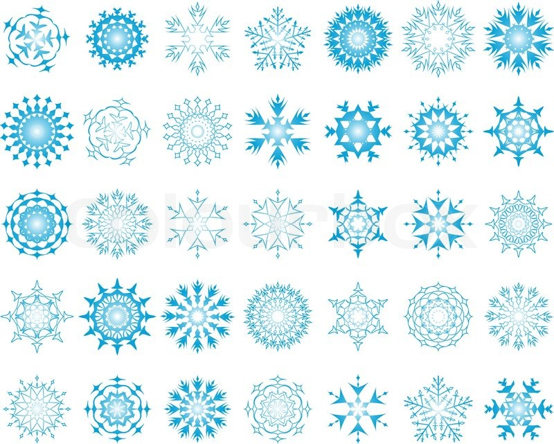 Set of different vector snowflakes in blue-white color   Stock ...