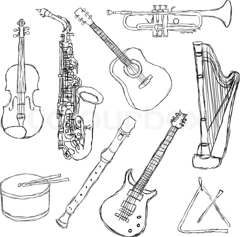 Drawing Various Types Of Lines Using In Instrumentation Field : Musical instruments stock vector colourbox