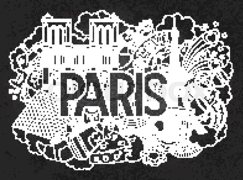 Vector doodle illustration showing Architecture and Culture of Paris ...