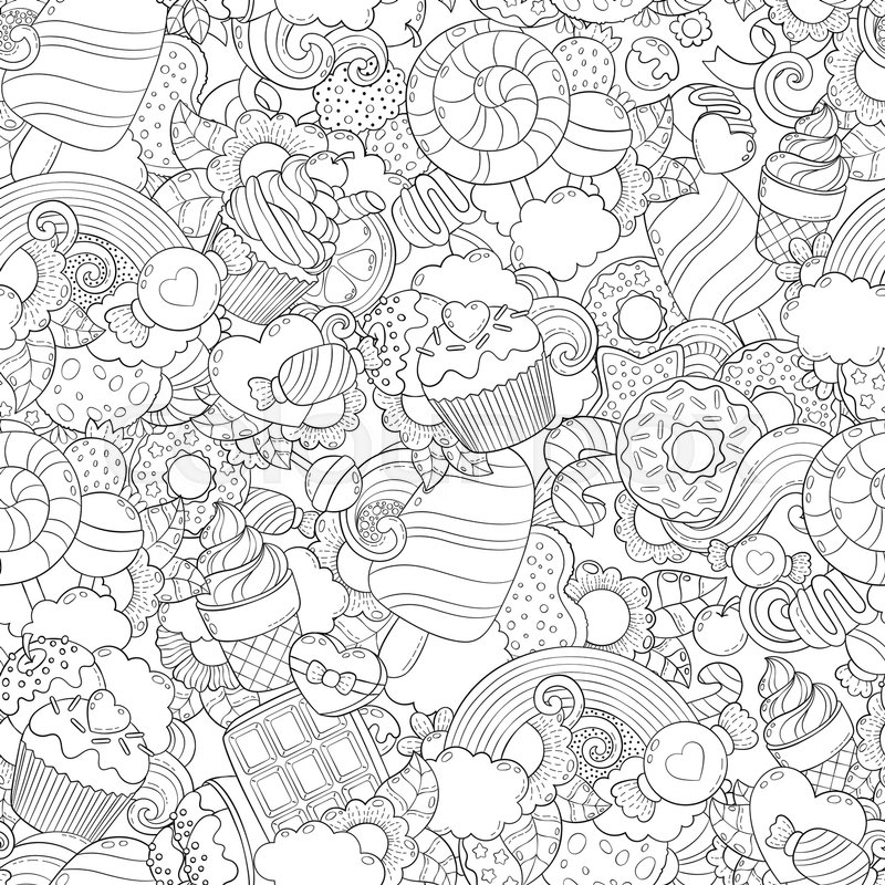 Pattern Wallpaper Collection Of Sweets Desserts Ice Cream Candy Elements Set Freehand Sketch For Adult Anti Stress Coloring Book Page Vector