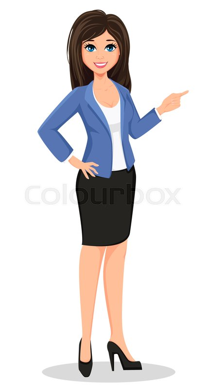 Business Woman In Office Style Clothes Showing Beautiful