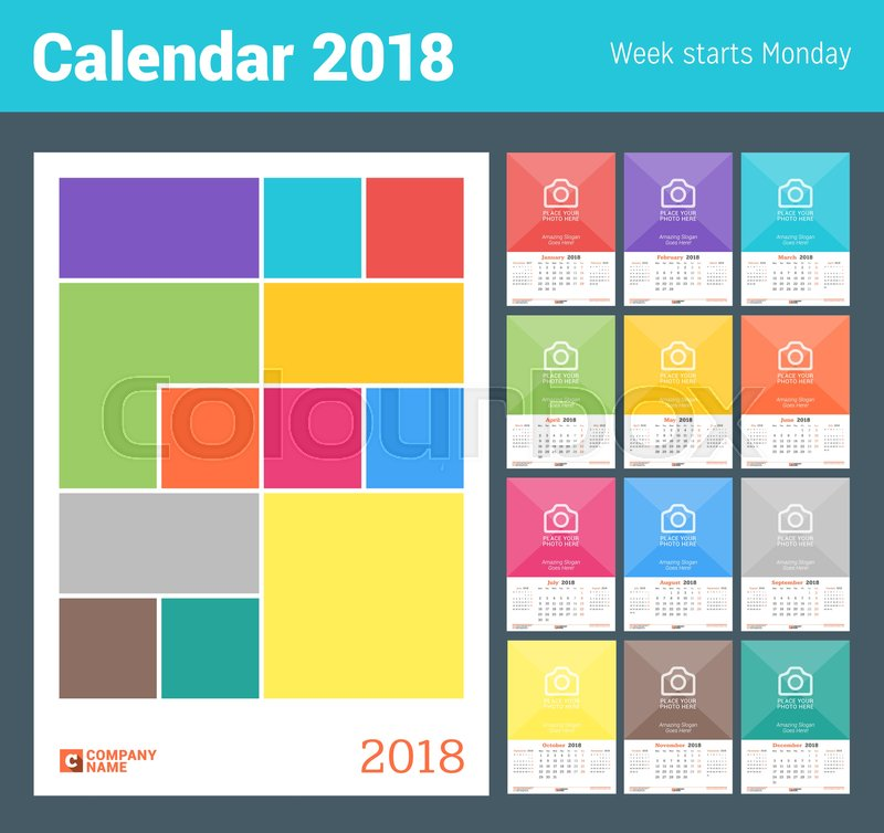 Calendar Cover Page Design : Wall monthly calendar for year vector design print