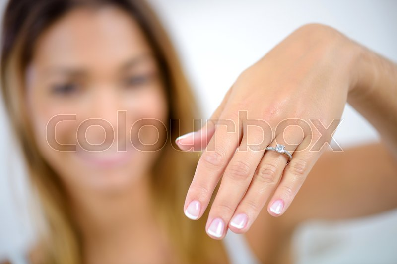 Close up of female hands with ring, stock photo