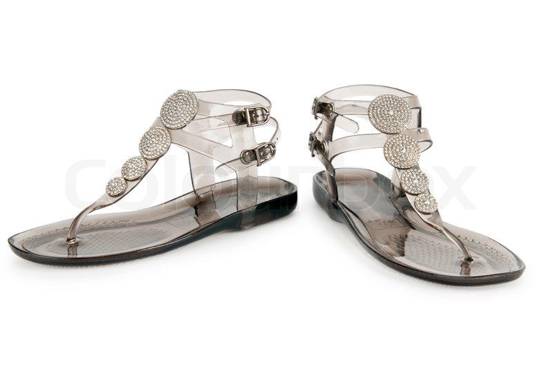 Elegant Flat Shoes Isolated On White   Stock Photo   Colourbox