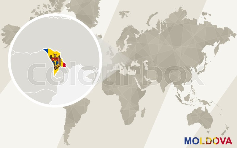 Zoom on Moldova Map and Flag  World     | Stock vector