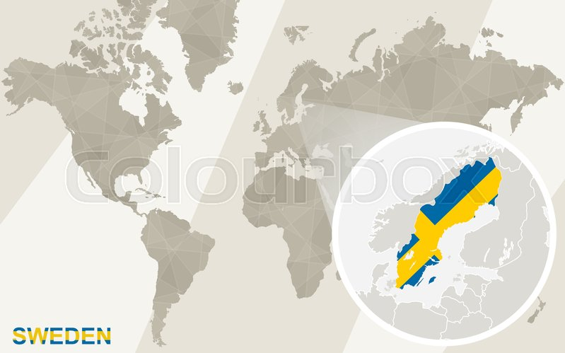 Zoom on Sweden Map and Flag. World ... | Stock Vector | Colourbox