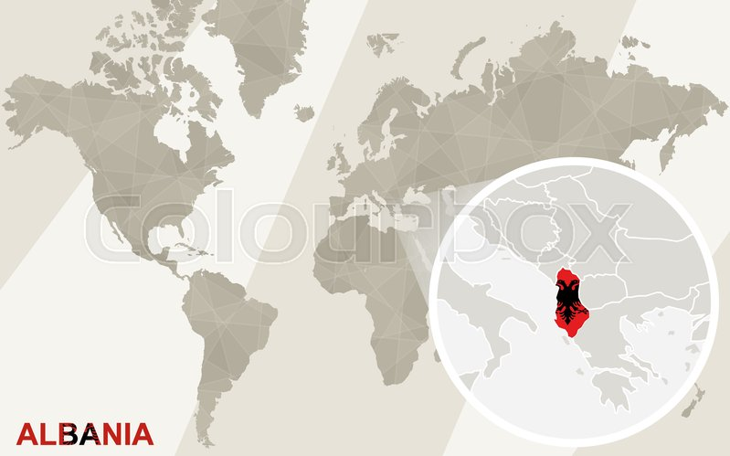 Zoom On Albania Map And Flag World Stock Vector Colourbox