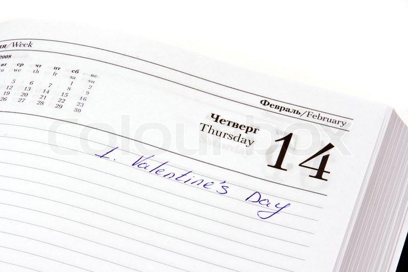 Organizer Offen Auf Dem Valentinstag Datum Mit Der Markierung Von Hand  Geschrieben, Stock Foto