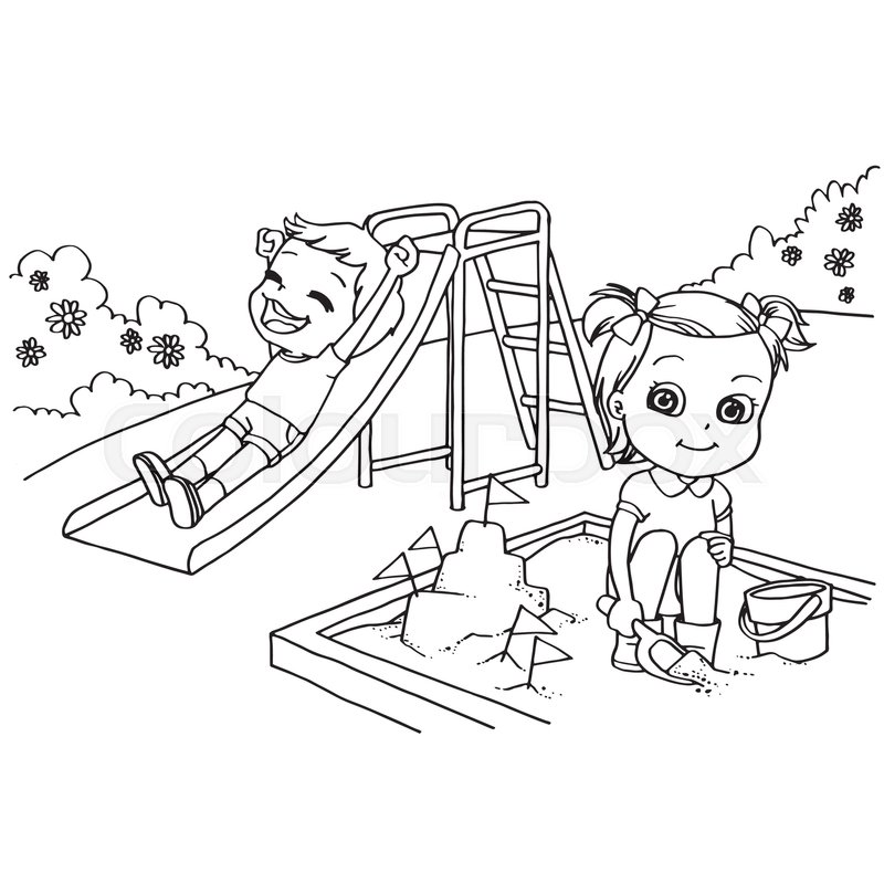 Kids at the playground cartoon coloring page vector illustration stock vector colourbox