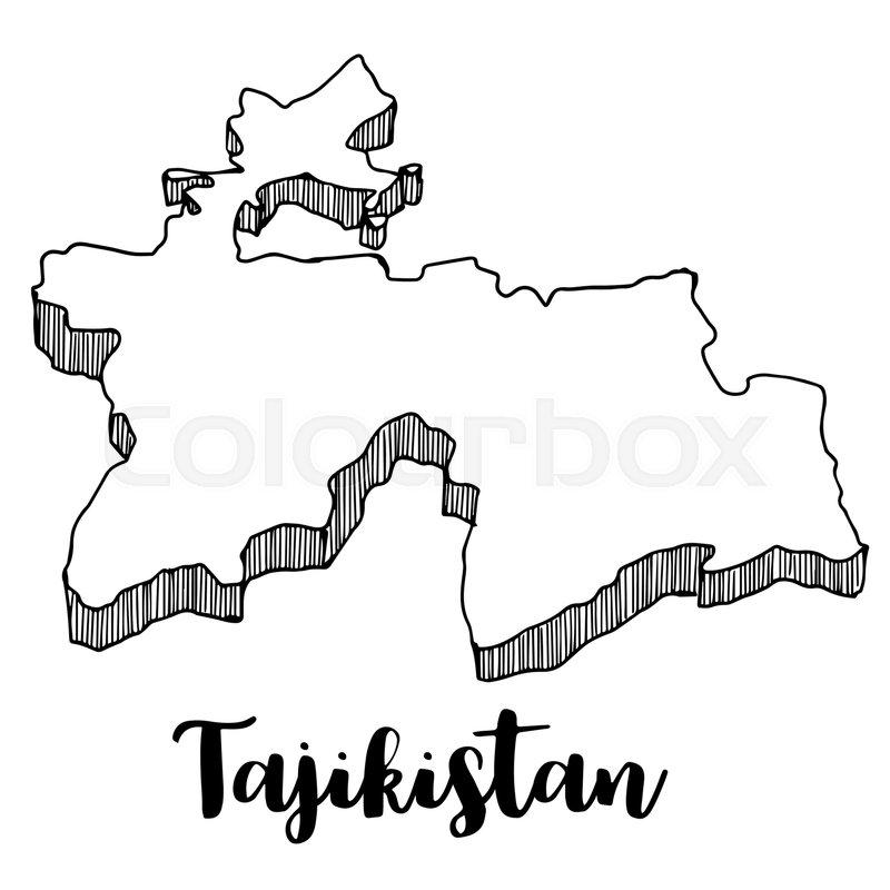 Hand Drawn Of Tajikistan Map Vector Illustration Stock Vector - Tajikistan map vector