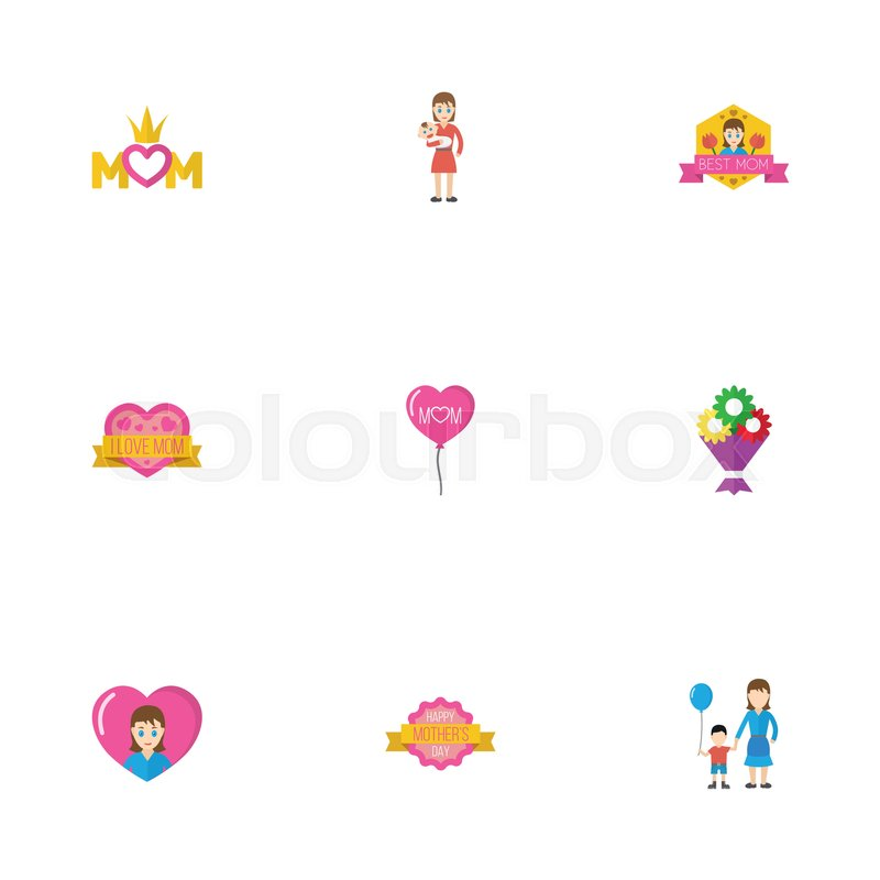 Happy mothers day flat icon layout design with sticker heart and decoration symbols lovely mom beautiful feminine design for social web and print
