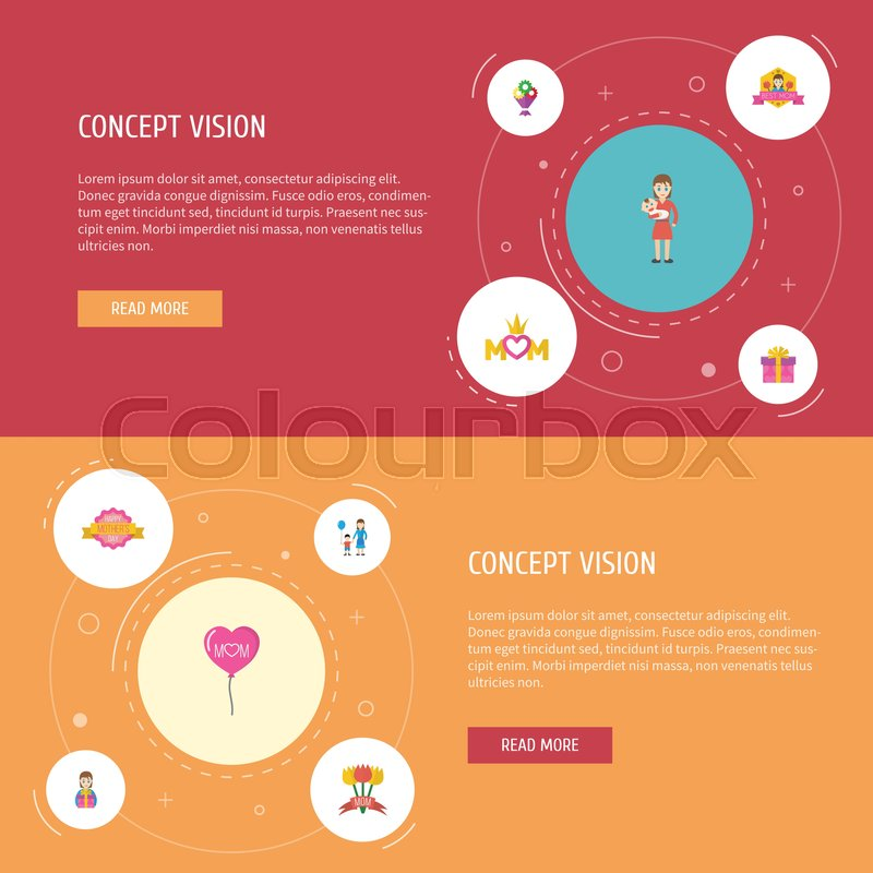 Happy Mothers Day Flat Icon Layout Design With Design Son And
