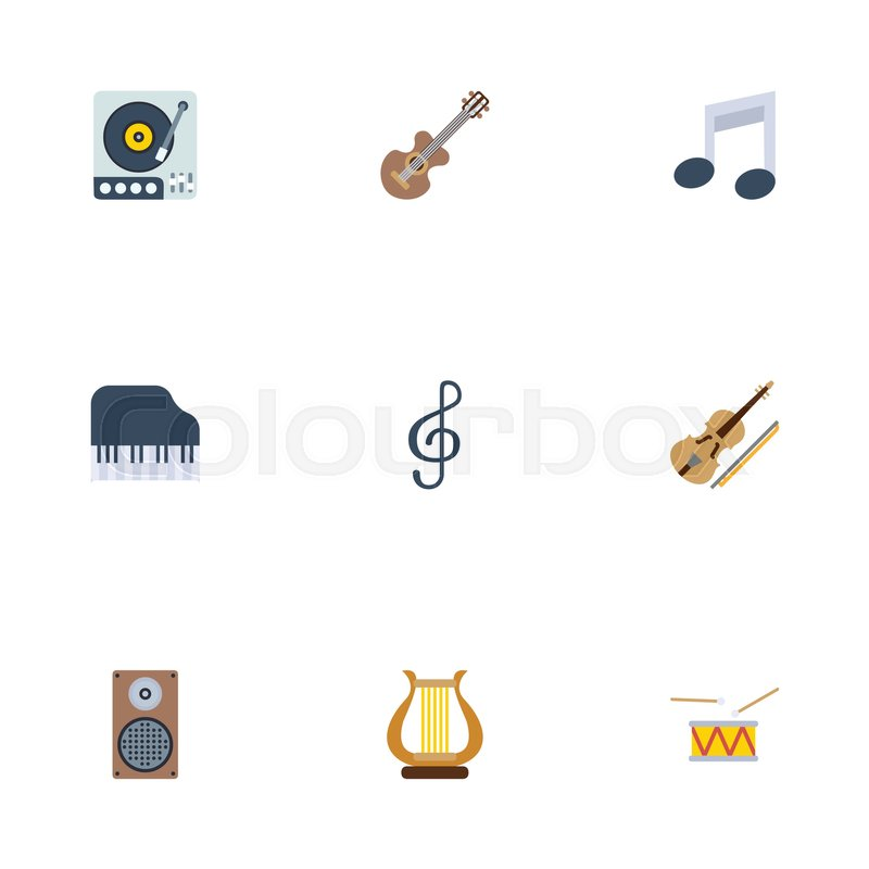 Flat Icons Octave Keyboard Tone Symbol Audio Box And Other Vector