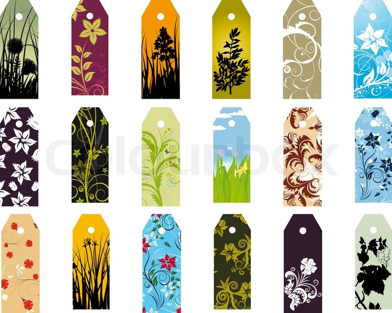 Set of different floral bookmarks for design use | Stock Vector ...