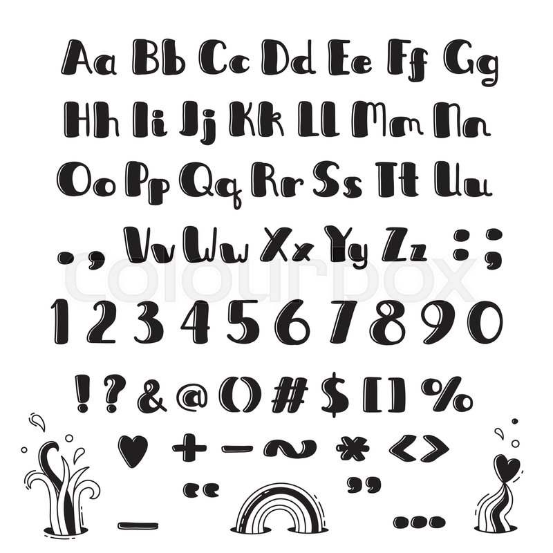 Hand Drawn Alphabet Capital Letters Lowercase Numbers And Symbols
