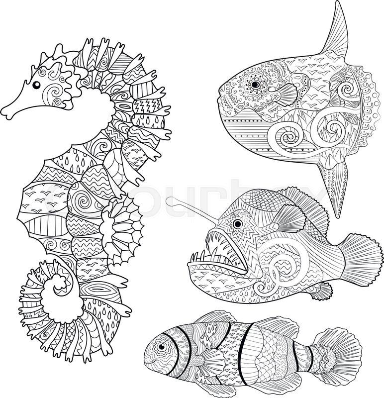 Set of fish - sea horse, moon fish, monk fish and clown fish ...