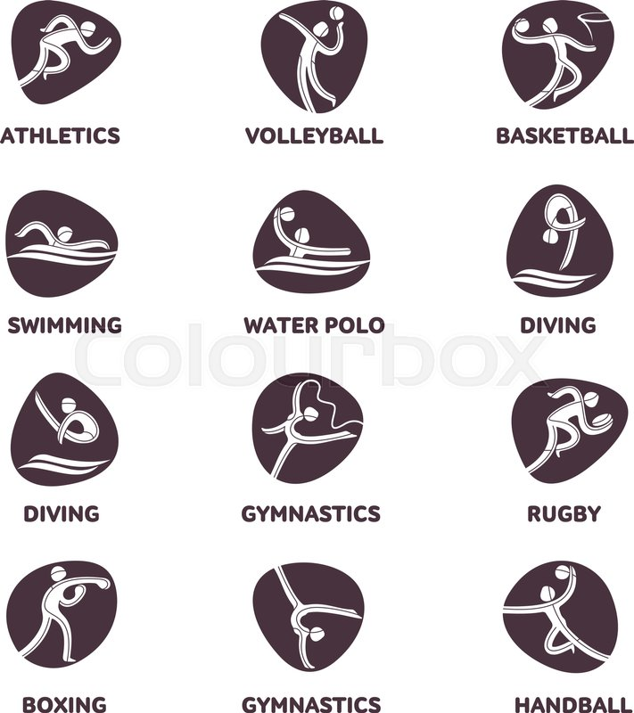Athlete sport game competition icon. Summer sport games symbols ...