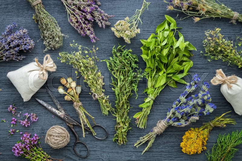 Medicinal herbs bunches, sachet and scissors on wooden table. Herbal medicine. Top view, flat lay, stock photo