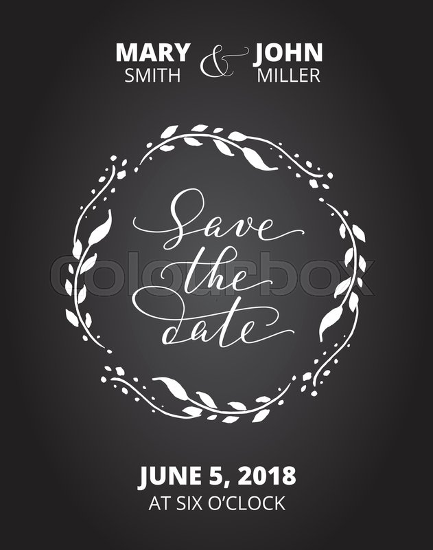Save the date card with floral wreath. Chalk board style black and ...