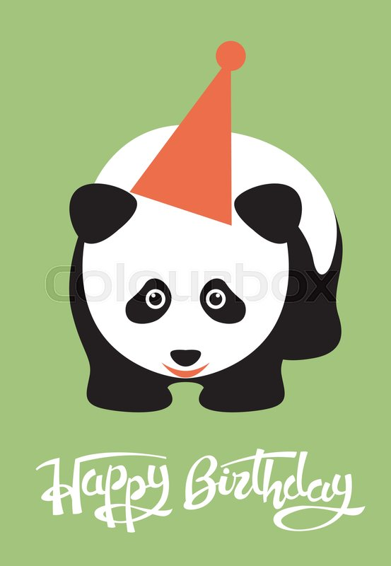 Greeting Card Happy Birthday Panda Stock Vector Colourbox
