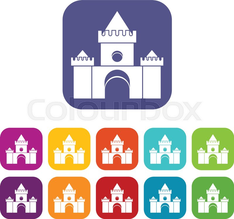 Fairytale castle icons set vector illustration in flat style in colors red, blue, green, and other, vector