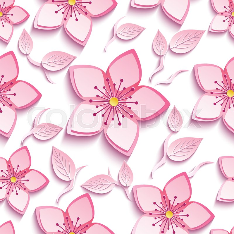 Trendy background seamless pattern with decorative pink 3d sakura trendy background seamless pattern with decorative pink 3d sakura blossom japanese cherry tree branch cutting paper stylish modern floral wallpaper with mightylinksfo