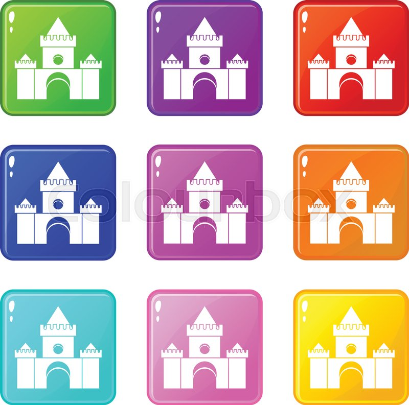 Fairytale castle icons of 9 color set isolated vector illustration, vector