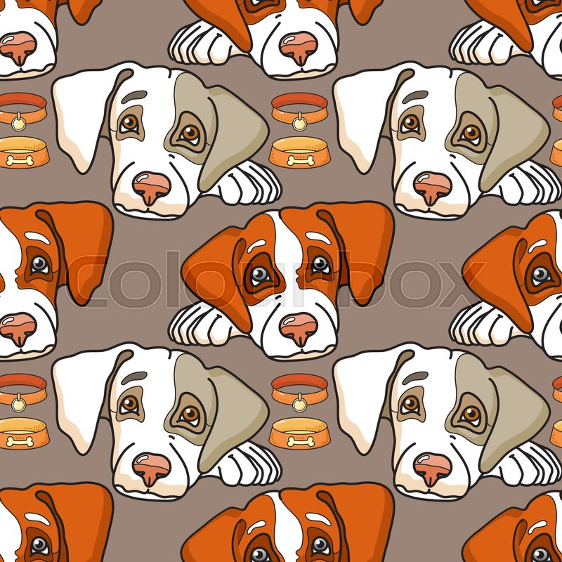 Vector Cartoon Dog On Grey Seamless Pattern Can Be Used For