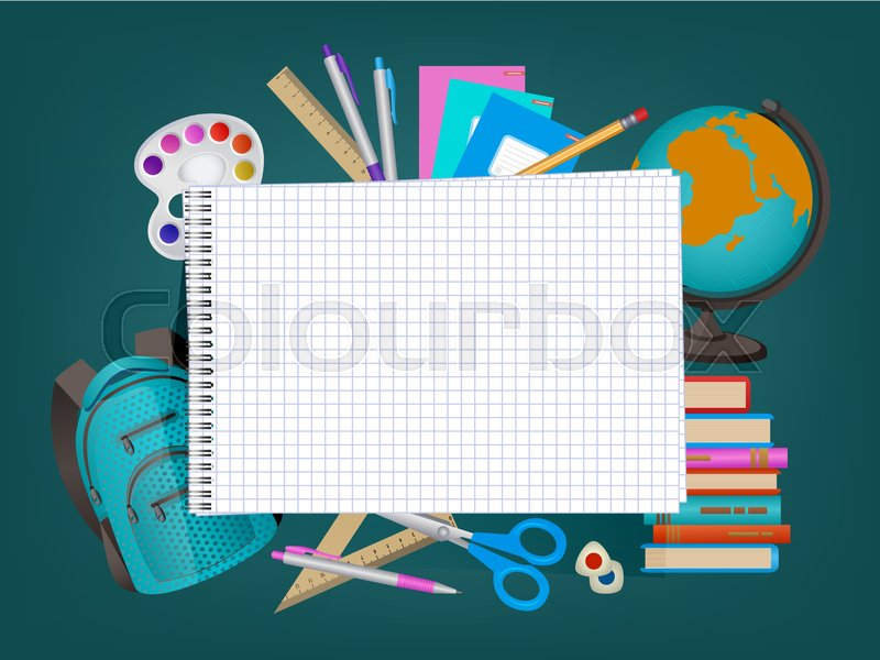 back to school banner poster design with empty squared notebook page and student items on the background cartoon vector illustration