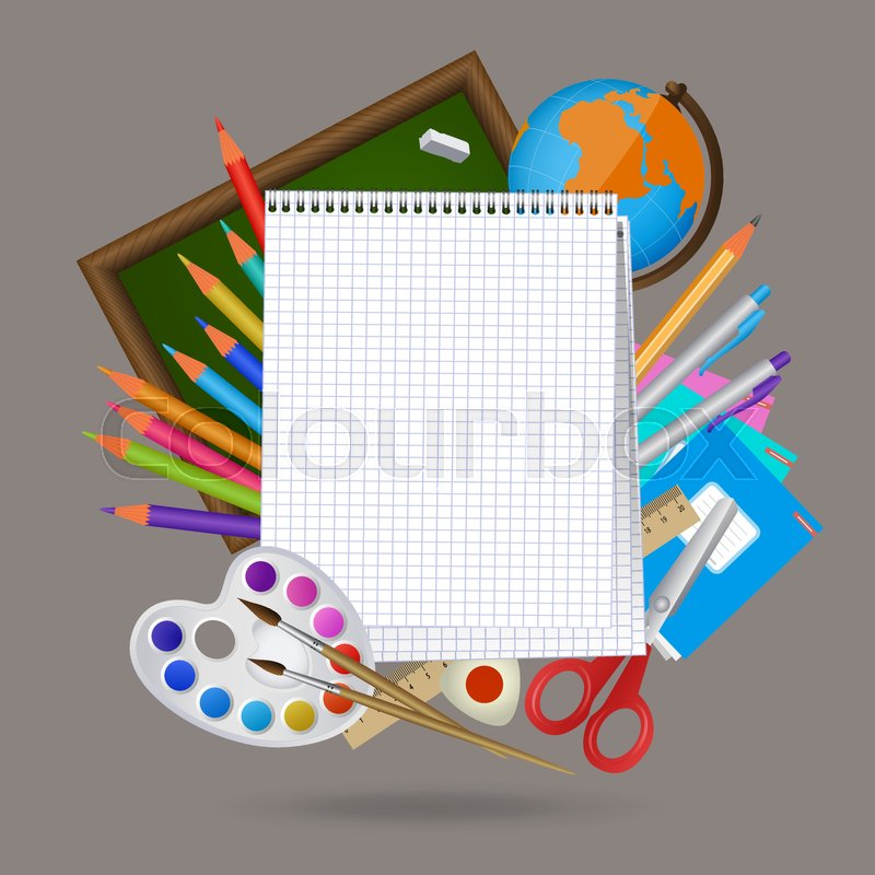 back to school banner poster mockup design with blank squared notebook page and student items on the background cartoon vector illustration