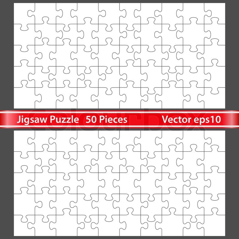 vector jigsaw puzzle with 50 pieces stock vector colourbox