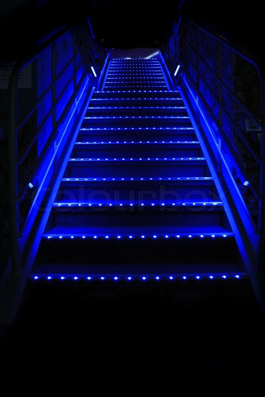 Nice Blue Stairs In The Night Bar Stock Photo Colourbox