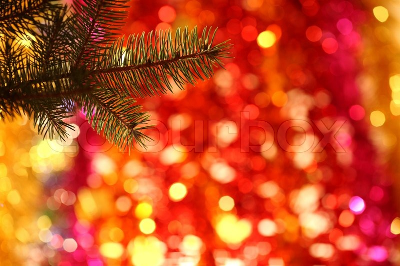 Branch Of Christmas Tree On Colorful Blurred Background