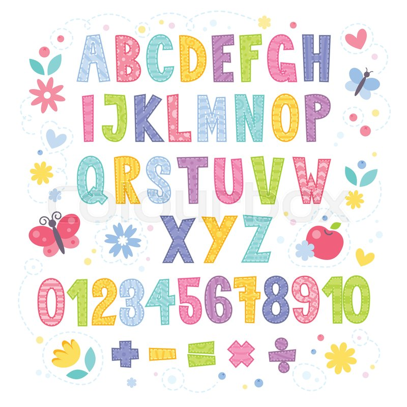 Cute Cartoon Colorful Alphabet For Children With Hand Drawn Typography Letters And Figures Isolated On White Background