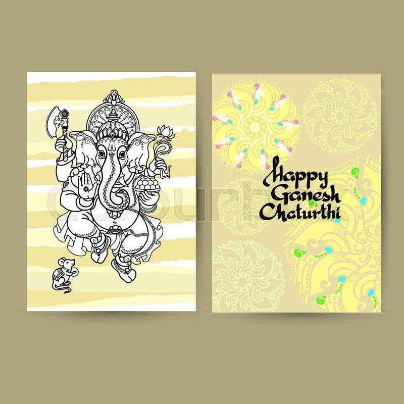 Hindu god ganesha greeting cards handwritten words happy ganesh hindu god ganesha greeting cards handwritten words happy ganesh chaturthi hand drawn vector illustration black line on light background with mandala m4hsunfo