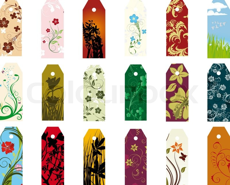 set of different vector floral bookmarks for design use stock