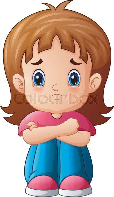 vector illustration of sad girl cartoon sitting alone stock vector rh colourbox com sad love cartoon pictures sad mood cartoon pictures