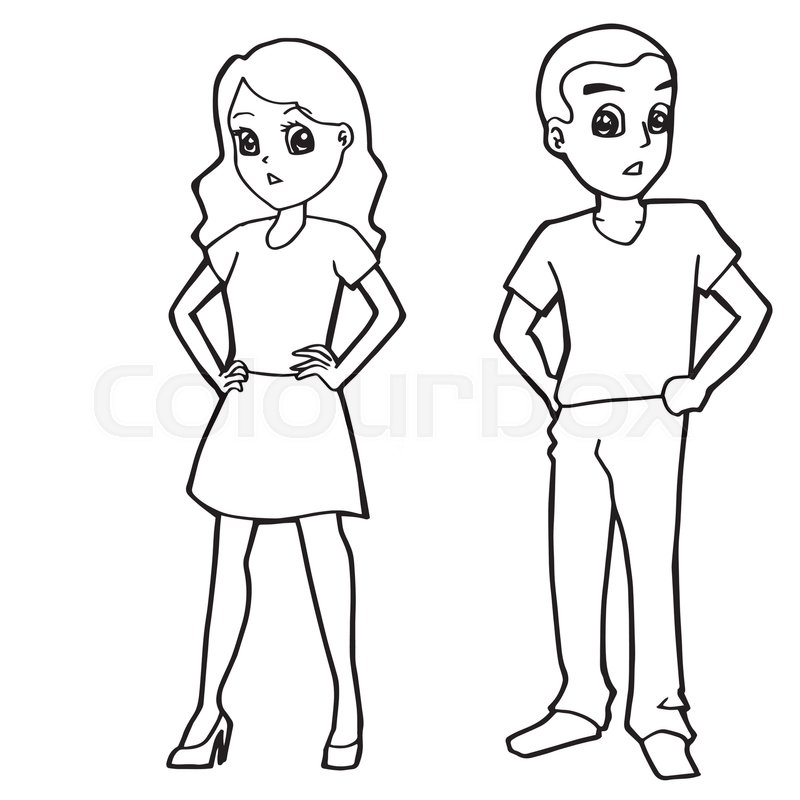 Cartoon Kid Boy Girl Or Human Coloring Page Vector Illustration