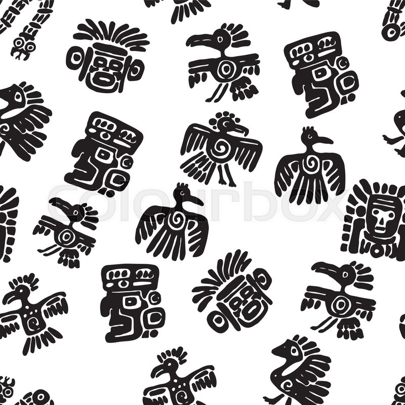 Seamless Vector Maya Pattern Black And White Ethnic Elements