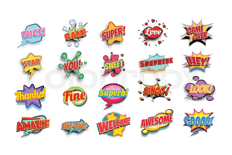 Download Comic book words set. nice bam super ...   Stock Vector ...