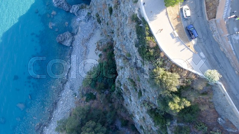 Aerial overhead view of beautiful beach in Calabria, Italy, stock photo