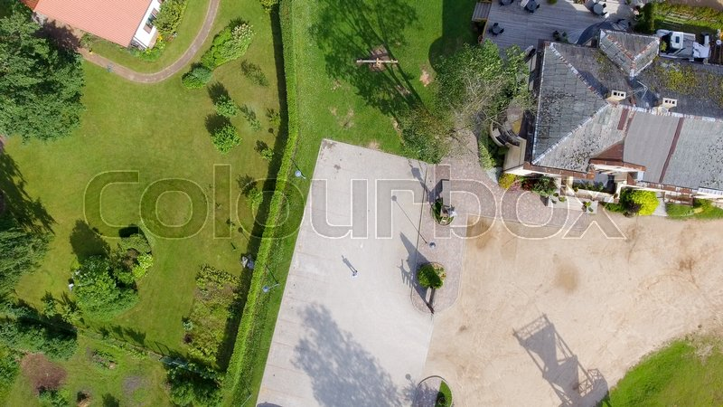Overhead view of city square, stock photo
