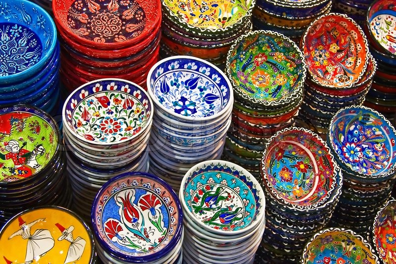 & Classical Turkish ceramics on the market | Stock Photo | Colourbox