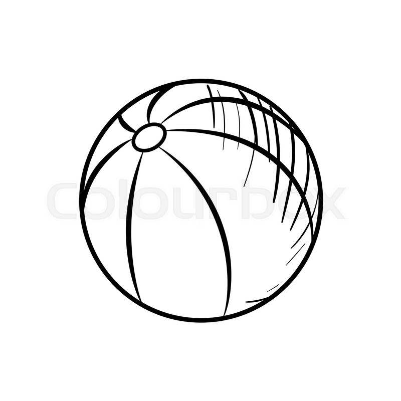 Sketch Baby Beach Ball. Hand Drawn Ball Icon. Ball Sketch Icon For Infographic Website Or App ...