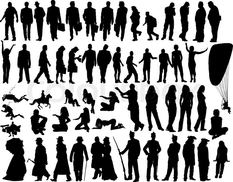 big vector collection of different silhouettes people Cartoon Baby Sitting Clip Art People Clip Art with Shades